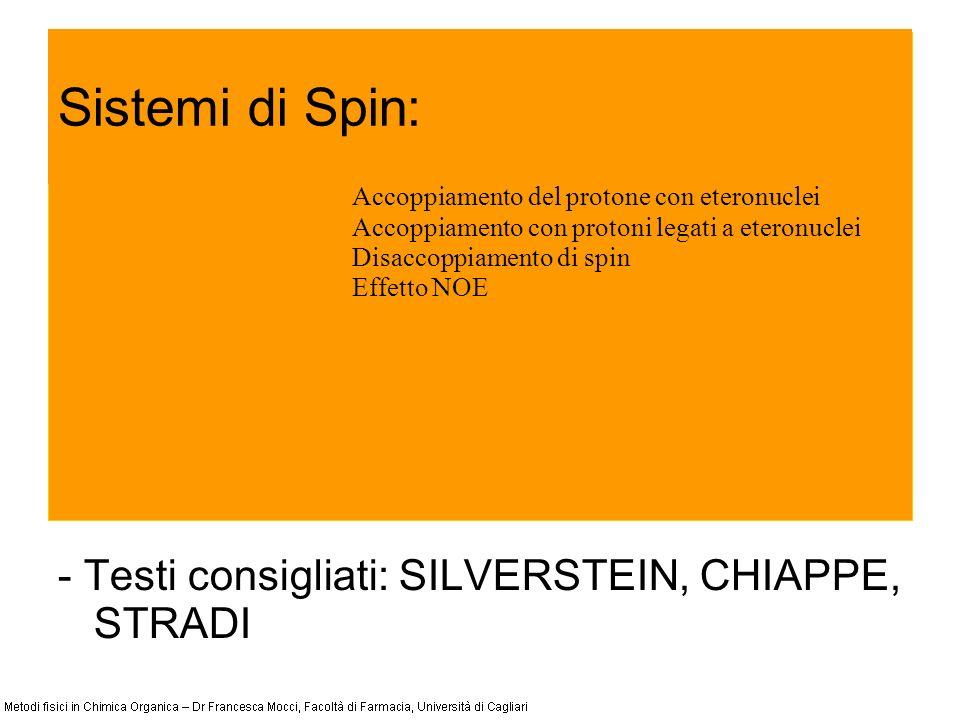 Sistemi di Spin: - Testi consigliati: SILVERSTEIN, CHIAPPE, STRADI Accoppiamento del protone con eteronuclei Accoppiamento con protoni legati a eteron