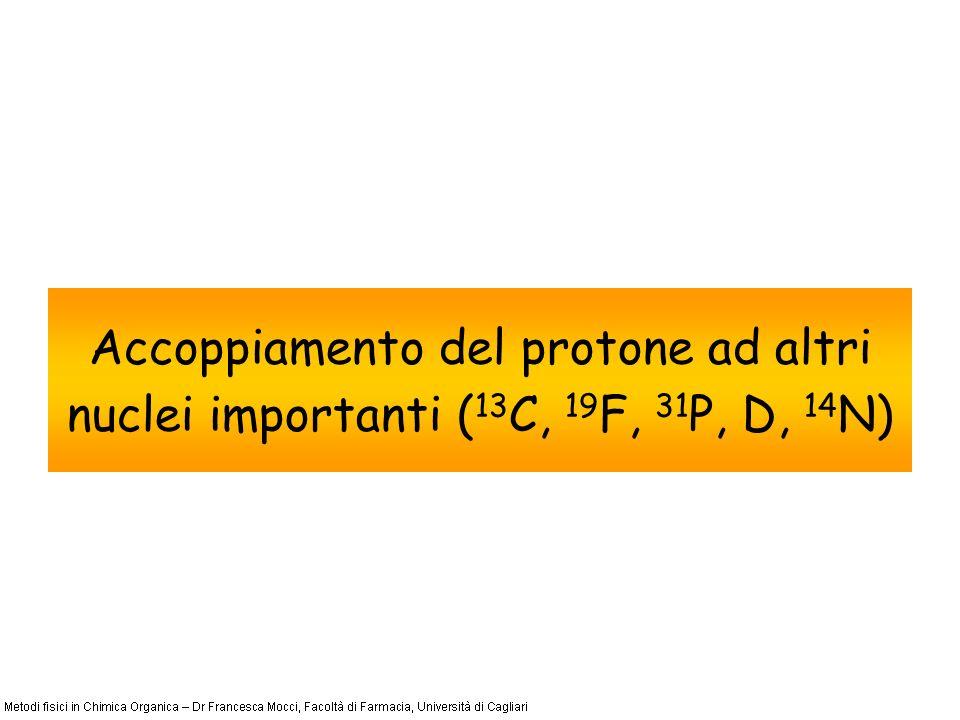 Accoppiamento eteronucleare Accoppiamento del protone al 19 F 19 F: abbondanza naturale 100%, I=1/2.