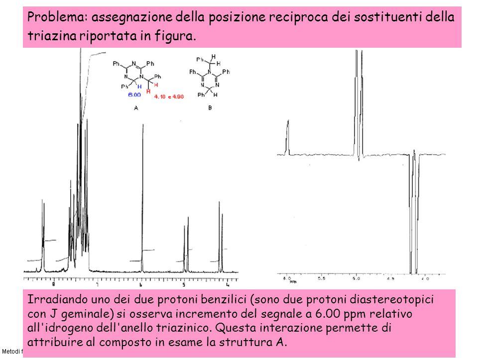 Problema: assegnazione della posizione reciproca dei sostituenti della triazina riportata in figura. Irradiando uno dei due protoni benzilici (sono du