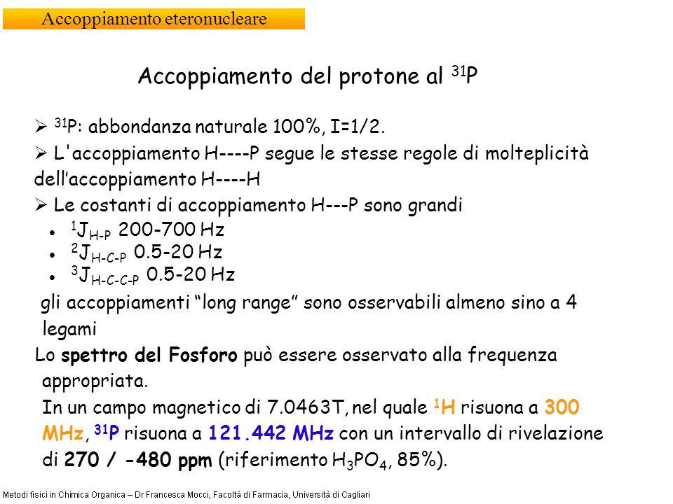Accoppiamento eteronucleare Accoppiamento del protone al 31 P 31 P: abbondanza naturale 100%, I=1/2. L'accoppiamento H----P segue le stesse regole di