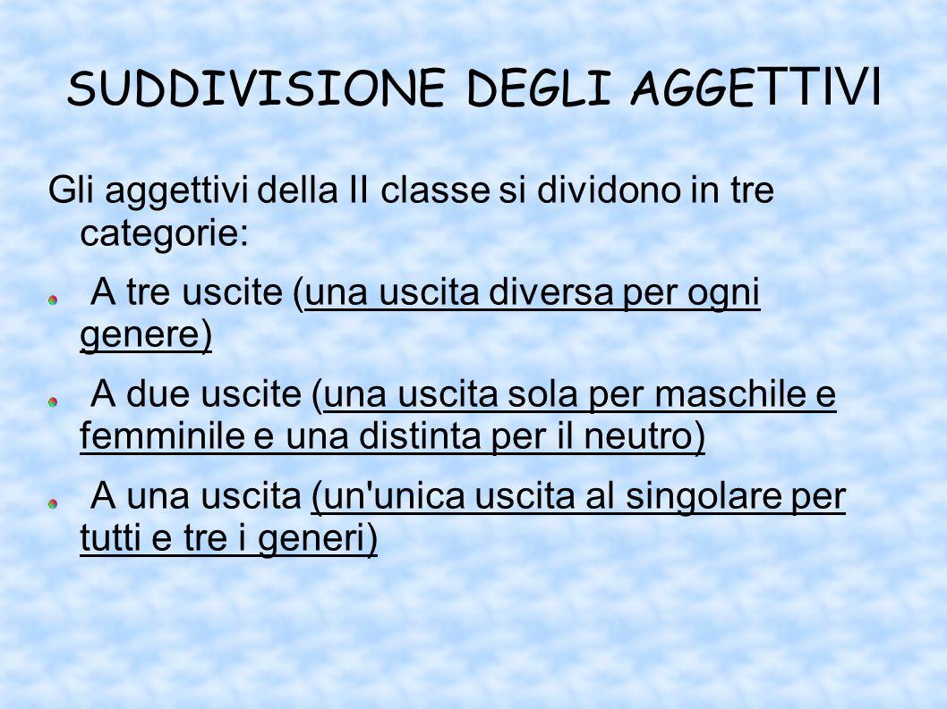 SUDDIVISIONE DEGLI AGGE TTIVI Gli aggettivi della II classe si dividono in tre categorie: A tre uscite (una uscita diversa per ogni genere) A due usci
