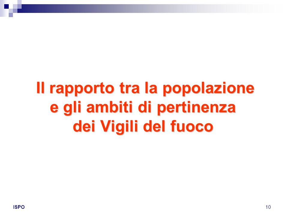 ISPO10 Il rapporto tra la popolazione e gli ambiti di pertinenza dei Vigili del fuoco Il rapporto tra la popolazione e gli ambiti di pertinenza dei Vi