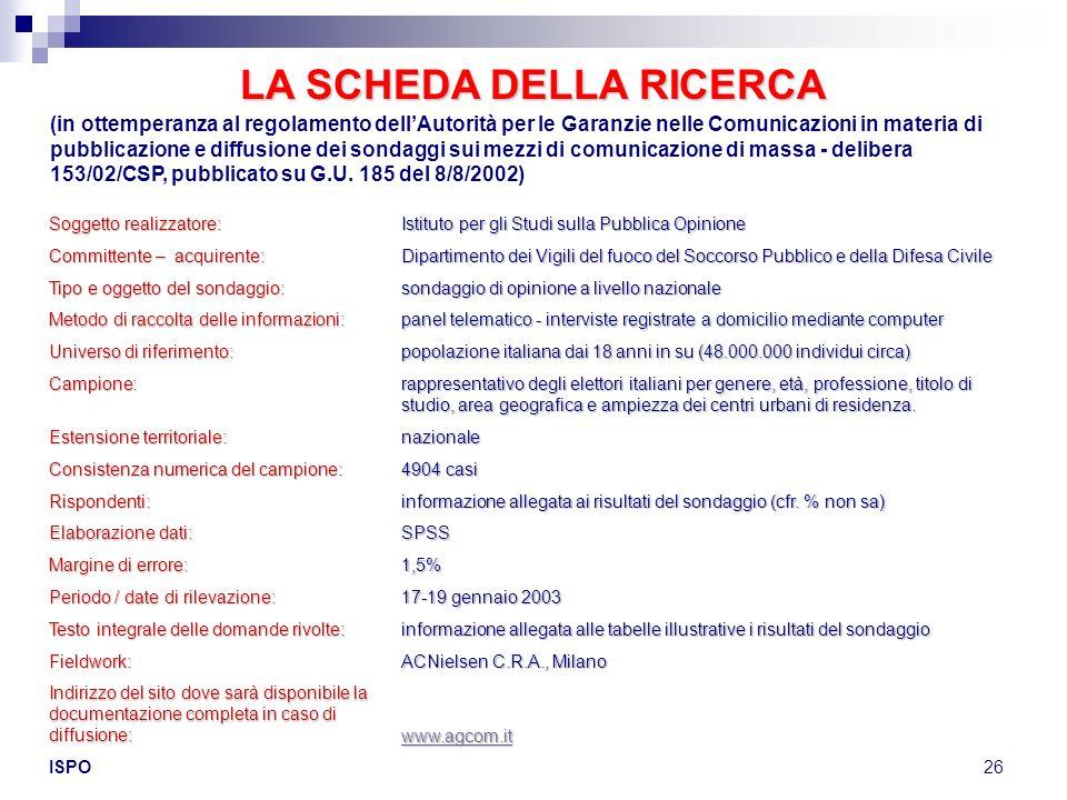 ISPO26 LA SCHEDA DELLA RICERCA (in ottemperanza al regolamento dellAutorità per le Garanzie nelle Comunicazioni in materia di pubblicazione e diffusio
