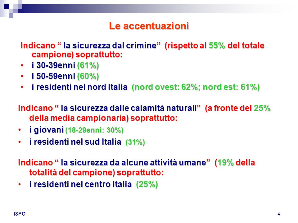 ISPO4 Indicano la sicurezza dal crimine (rispetto al 55% del totale campione) soprattutto: i 30-39enni (61%)i 30-39enni (61%) i 50-59enni (60%)i 50-59