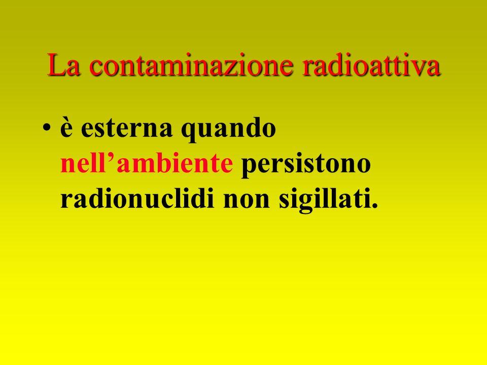 La contaminazione radioattiva è esterna quando nellambiente persistono radionuclidi non sigillati.