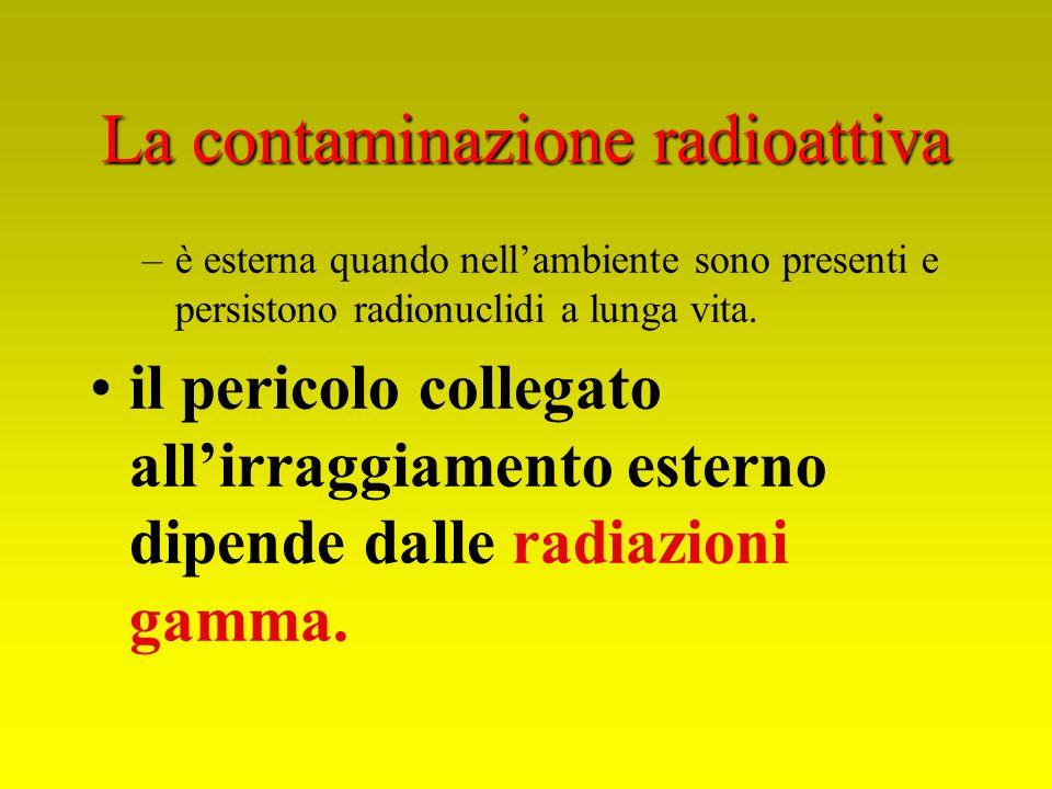 La contaminazione radioattiva –è esterna quando nellambiente sono presenti e persistono radionuclidi a lunga vita. il pericolo collegato allirraggiame