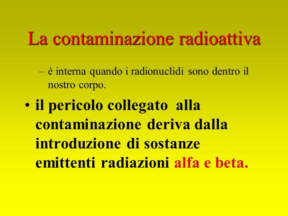 La contaminazione radioattiva –è interna quando i radionuclidi sono dentro il nostro corpo. il pericolo collegato alla contaminazione deriva dalla int
