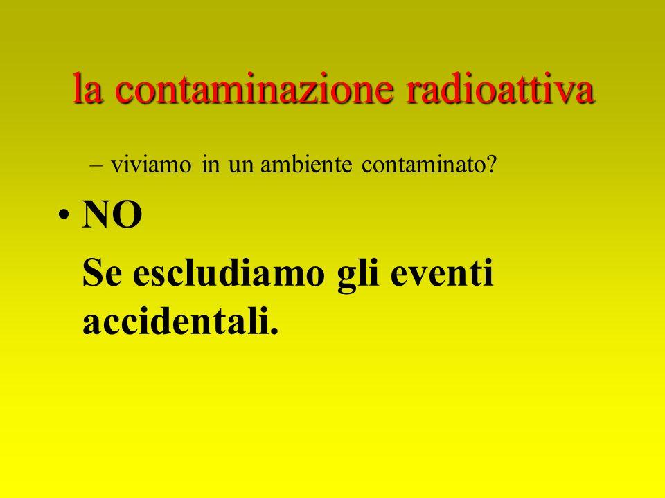 la contaminazione radioattiva –viviamo in un ambiente contaminato? NO Se escludiamo gli eventi accidentali.