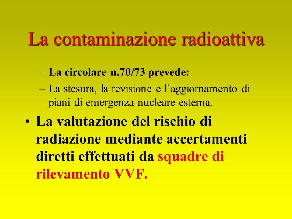 La contaminazione radioattiva –La circolare n.70/73 prevede: –La stesura, la revisione e laggiornamento di piani di emergenza nucleare esterna. La val