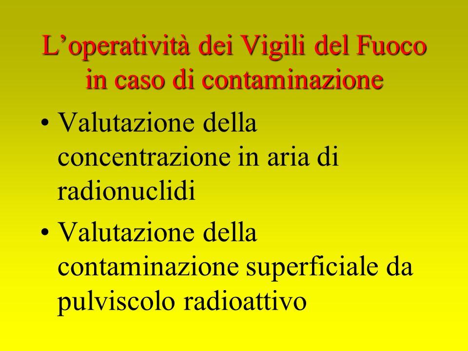 Valutazione della concentrazione in aria di radionuclidi Valutazione della contaminazione superficiale da pulviscolo radioattivo Loperatività dei Vigi