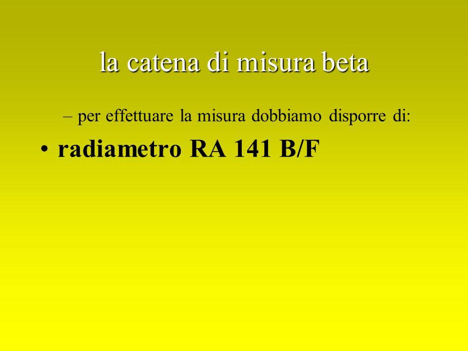 la catena di misura beta –per effettuare la misura dobbiamo disporre di: radiametro RA 141 B/F