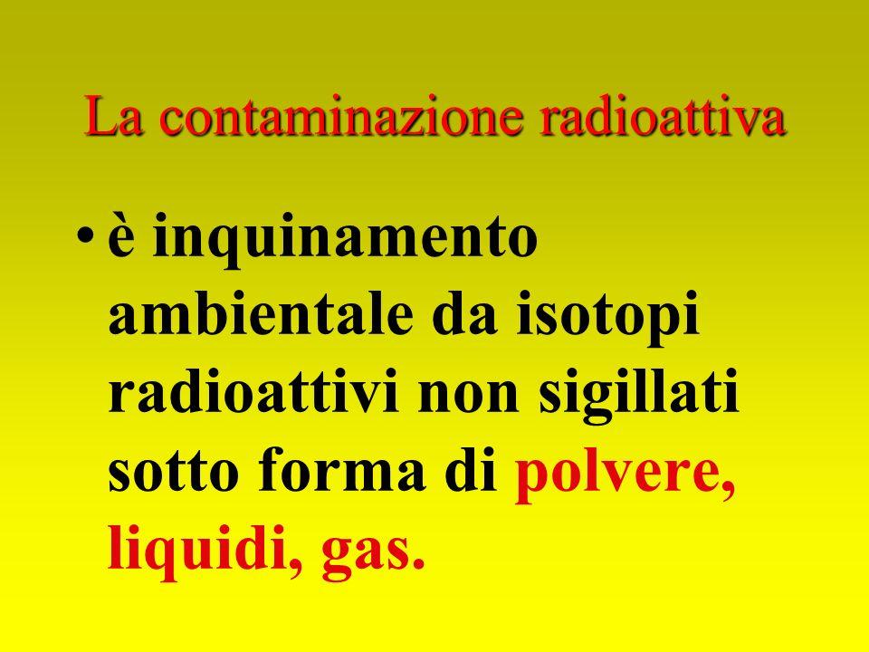 La contaminazione radioattiva è inquinamento ambientale da isotopi radioattivi non sigillati sotto forma di polvere, liquidi, gas.