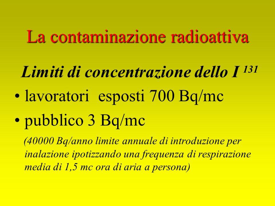 Limiti di concentrazione dello I 131 lavoratori esposti 700 Bq/mc pubblico 3 Bq/mc (40000 Bq/anno limite annuale di introduzione per inalazione ipotiz