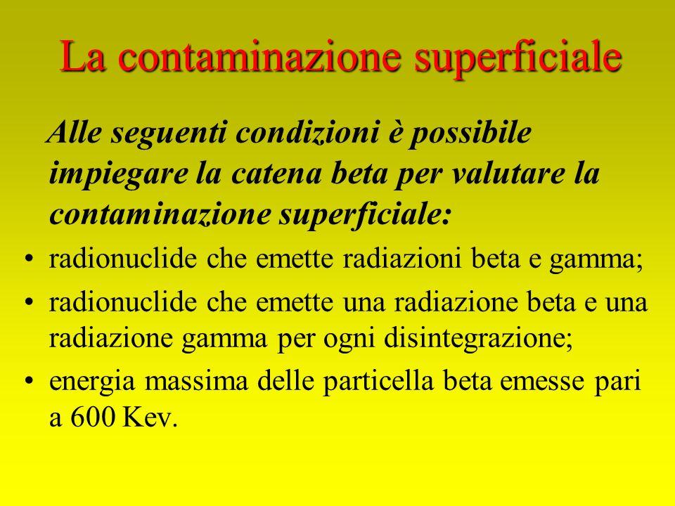 Alle seguenti condizioni è possibile impiegare la catena beta per valutare la contaminazione superficiale: radionuclide che emette radiazioni beta e g