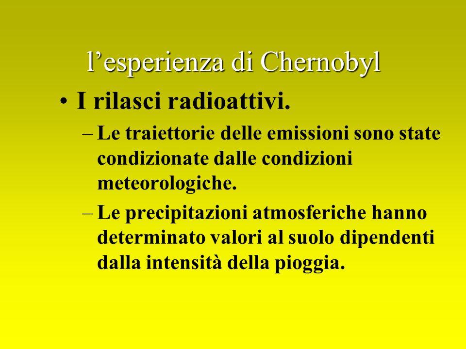 lesperienza di Chernobyl I rilasci radioattivi. –Le traiettorie delle emissioni sono state condizionate dalle condizioni meteorologiche. –Le precipita