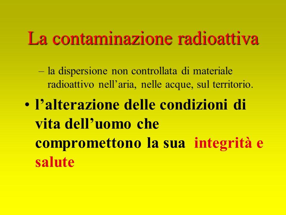 La contaminazione radioattiva –la dispersione non controllata di materiale radioattivo nellaria, nelle acque, sul territorio. lalterazione delle condi