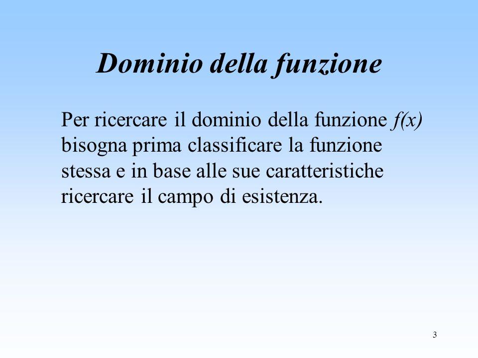 3 Dominio della funzione Per ricercare il dominio della funzione f(x) bisogna prima classificare la funzione stessa e in base alle sue caratteristiche