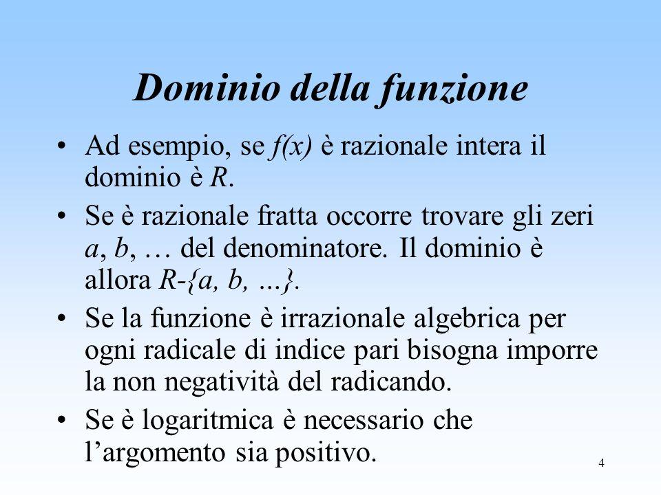 4 Dominio della funzione Ad esempio, se f(x) è razionale intera il dominio è R. Se è razionale fratta occorre trovare gli zeri a, b, … del denominator