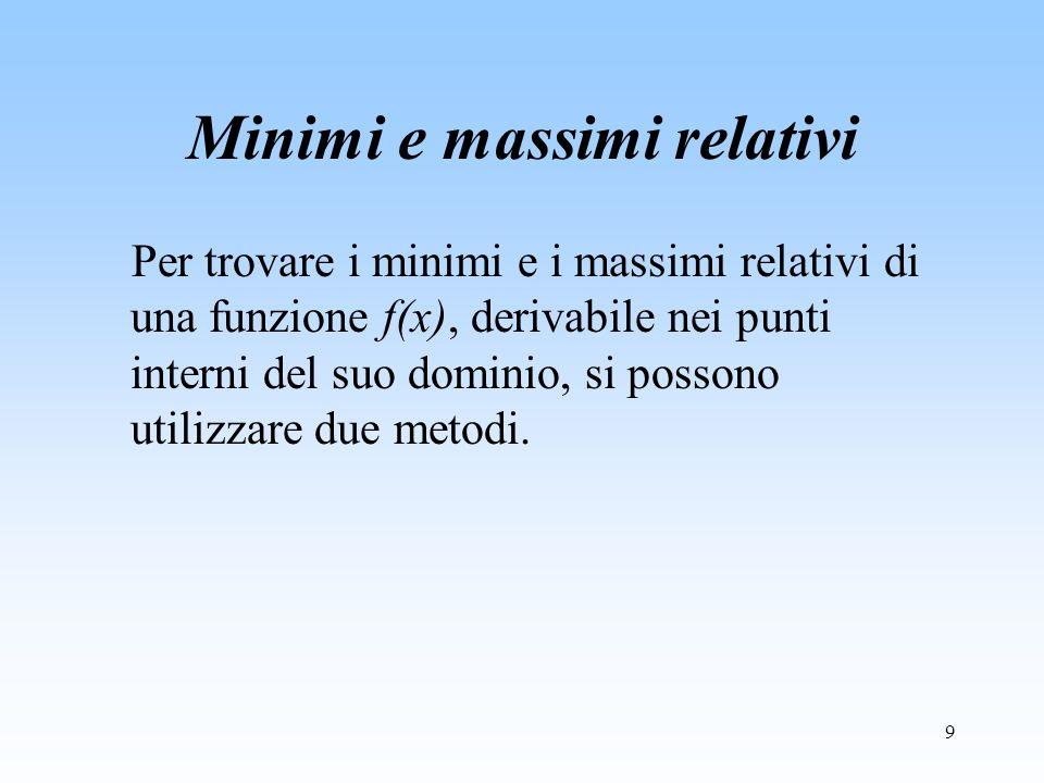 9 Minimi e massimi relativi Per trovare i minimi e i massimi relativi di una funzione f(x), derivabile nei punti interni del suo dominio, si possono u