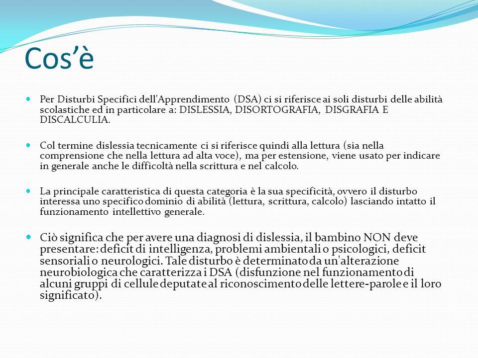 Cosè Per Disturbi Specifici dell Apprendimento (DSA) ci si riferisce ai soli disturbi delle abilità scolastiche ed in particolare a: DISLESSIA, DISORTOGRAFIA, DISGRAFIA E DISCALCULIA.