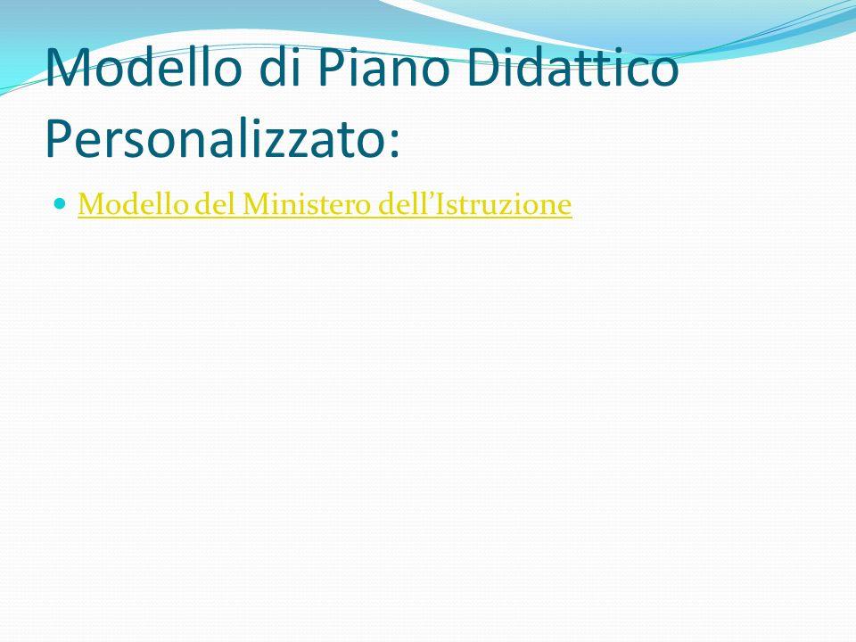 Modello di Piano Didattico Personalizzato: Modello del Ministero dellIstruzione