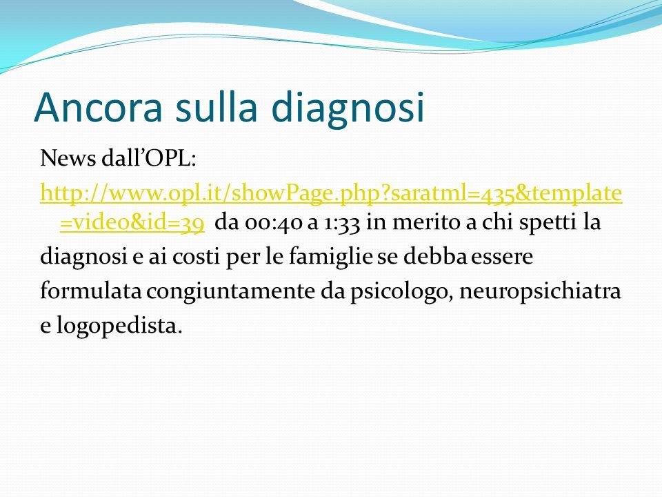 Ancora sulla diagnosi News dallOPL: http://www.opl.it/showPage.php?saratml=435&template =video&id=39http://www.opl.it/showPage.php?saratml=435&template =video&id=39 da 00:40 a 1:33 in merito a chi spetti la diagnosi e ai costi per le famiglie se debba essere formulata congiuntamente da psicologo, neuropsichiatra e logopedista.