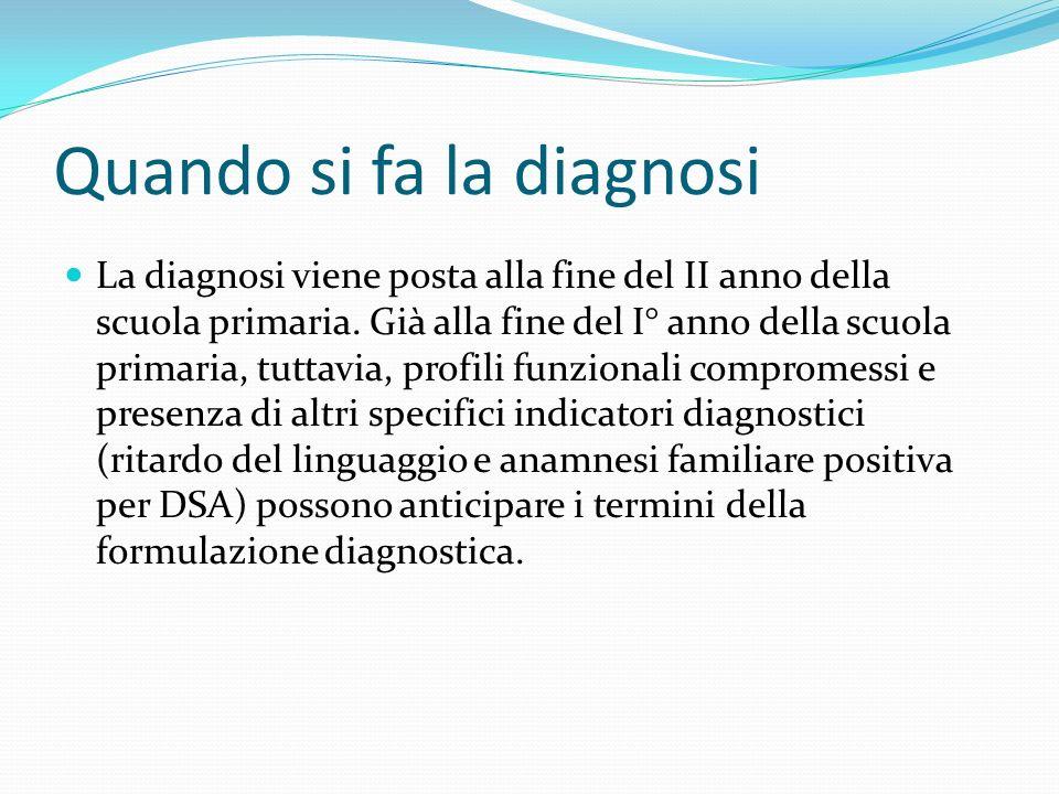 Quando si fa la diagnosi La diagnosi viene posta alla fine del II anno della scuola primaria.