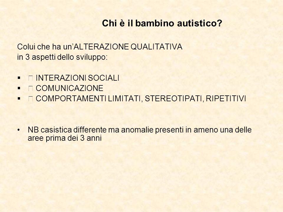 Chi è il bambino autistico? Colui che ha unALTERAZIONE QUALITATIVA in 3 aspetti dello sviluppo: INTERAZIONI SOCIALI COMUNICAZIONE COMPORTAMENTI LIMITA
