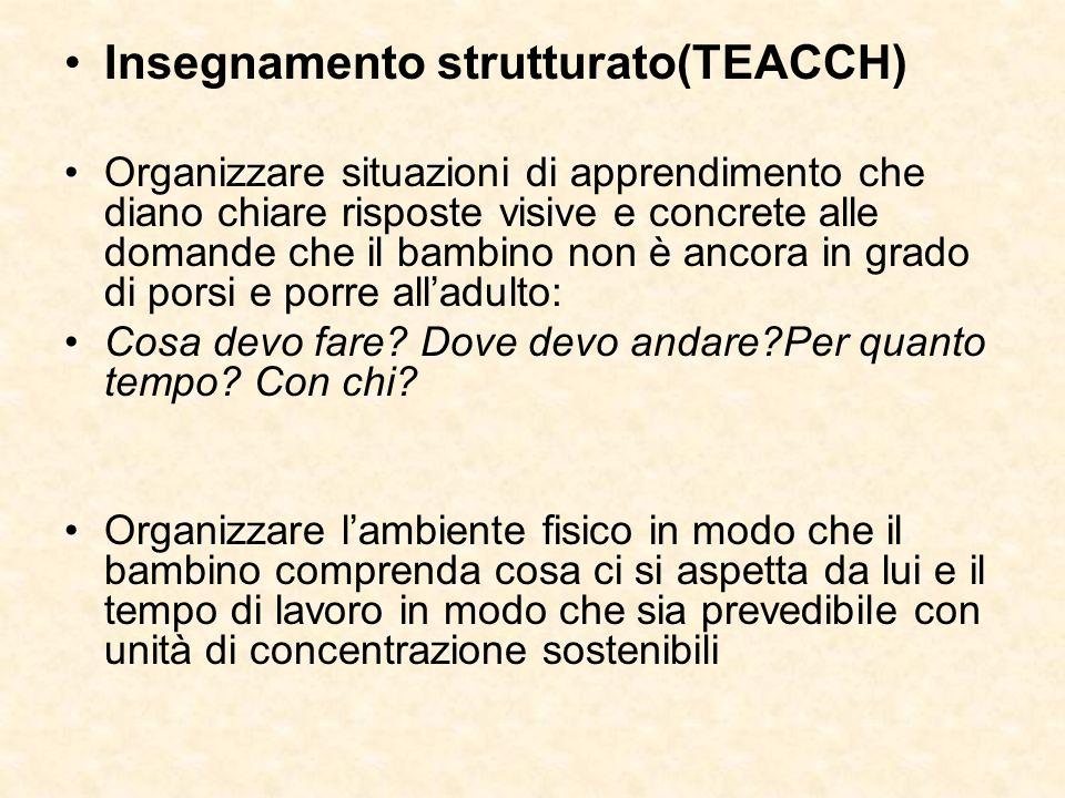 Insegnamento strutturato(TEACCH) Organizzare situazioni di apprendimento che diano chiare risposte visive e concrete alle domande che il bambino non è