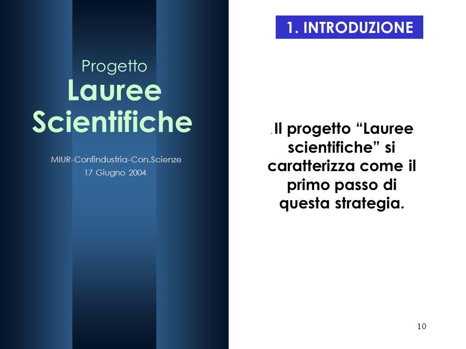 10 1. INTRODUZIONE. Il progetto Lauree scientifiche si caratterizza come il primo passo di questa strategia.