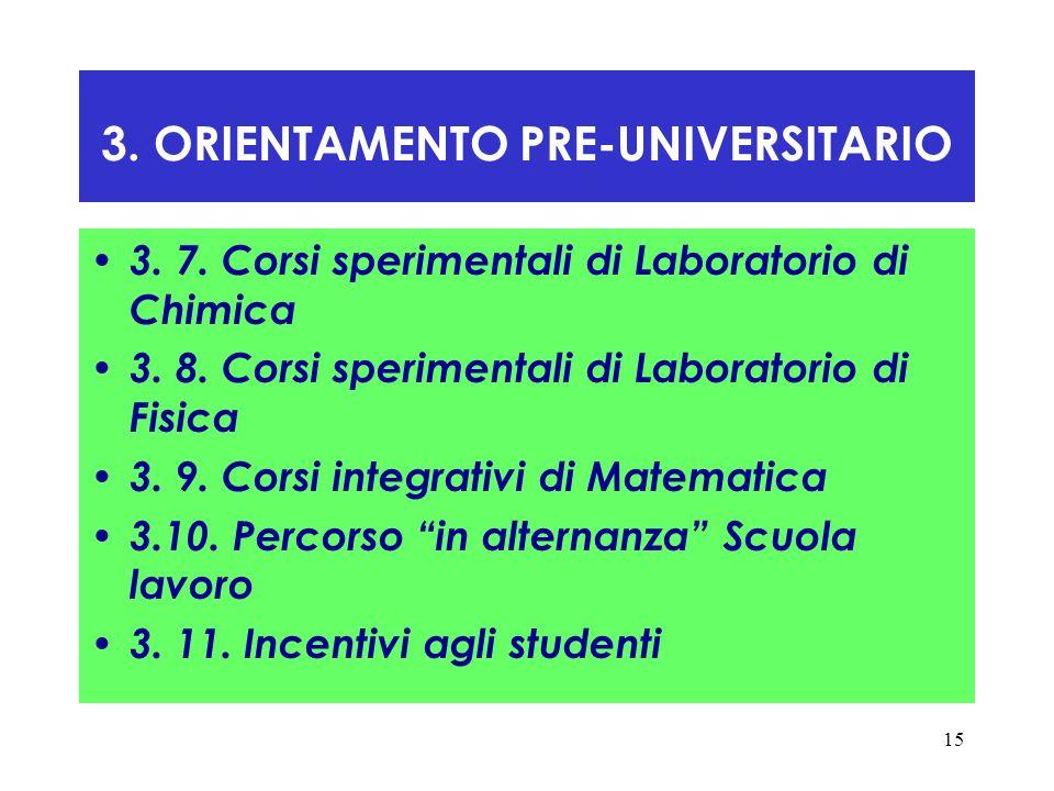 15 3. ORIENTAMENTO PRE-UNIVERSITARIO 3. 7. Corsi sperimentali di Laboratorio di Chimica 3. 8. Corsi sperimentali di Laboratorio di Fisica 3. 9. Corsi