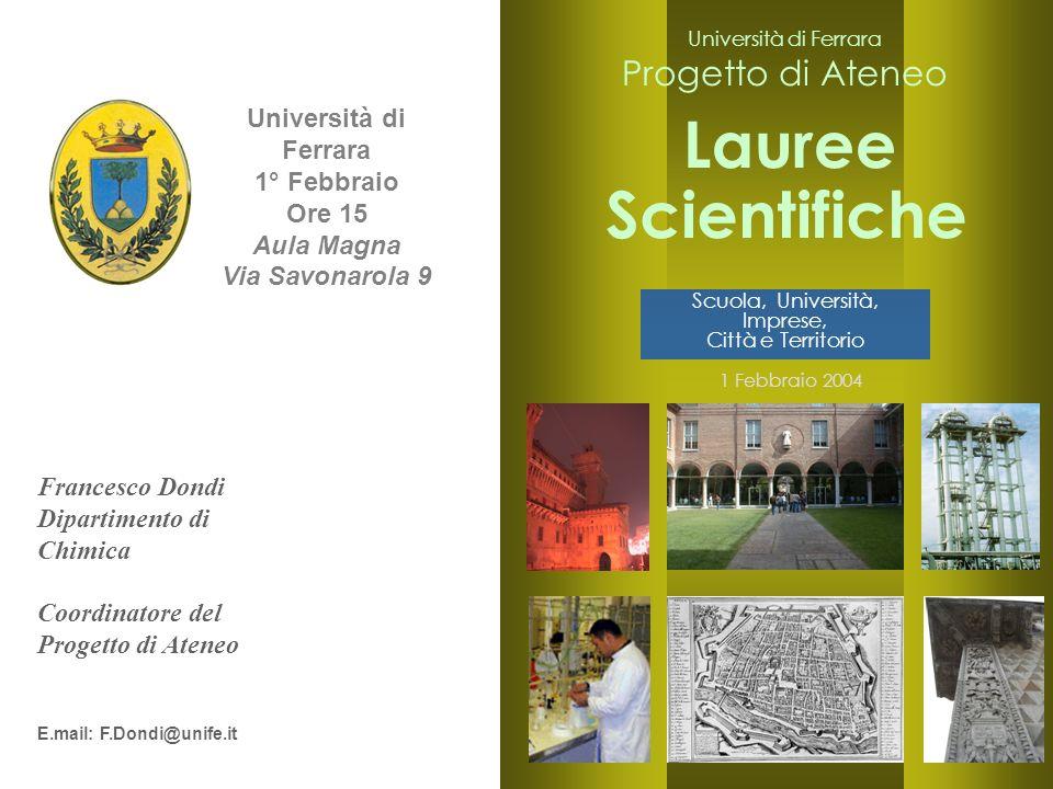 2 Università di Ferrara 1° Febbraio Ore 15 Aula Magna Via Savonarola 9 Francesco Dondi Dipartimento di Chimica Coordinatore del Progetto di Ateneo E.m