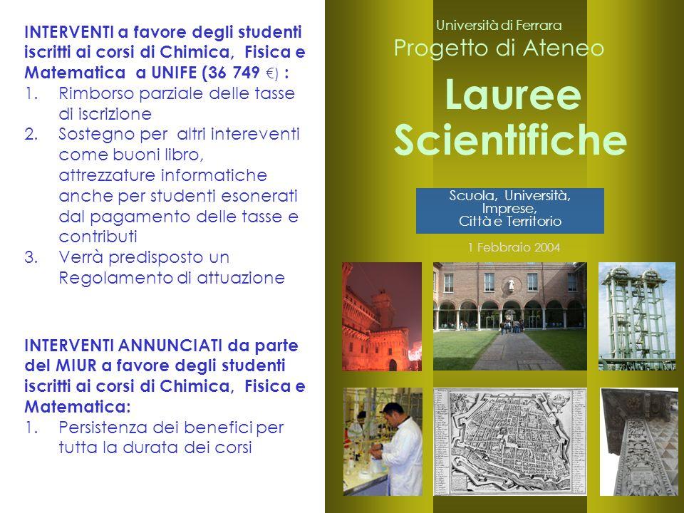 22 Università di Ferrara Progetto di Ateneo Lauree 1 Febbraio 2004 Scientifiche INTERVENTI a favore degli studenti iscritti ai corsi di Chimica, Fisic