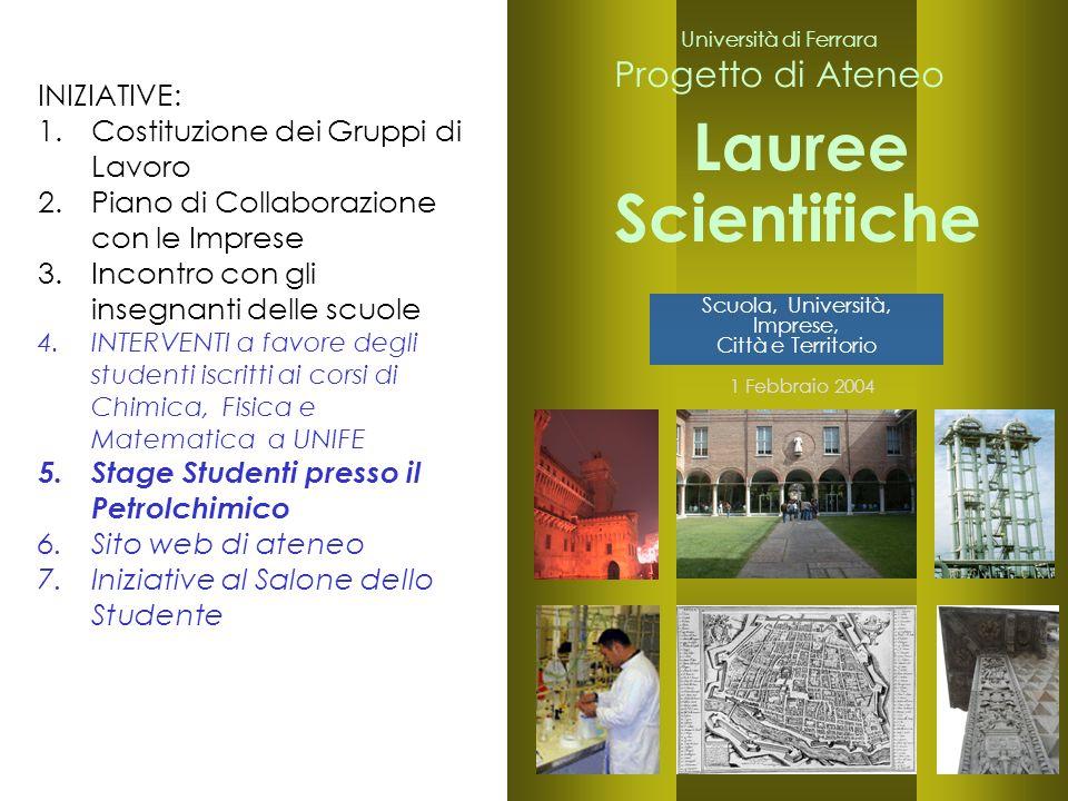 23 Università di Ferrara Progetto di Ateneo Lauree 1 Febbraio 2004 Scientifiche Scuola, Università, Imprese, Città e Territorio INIZIATIVE: 1.Costituz