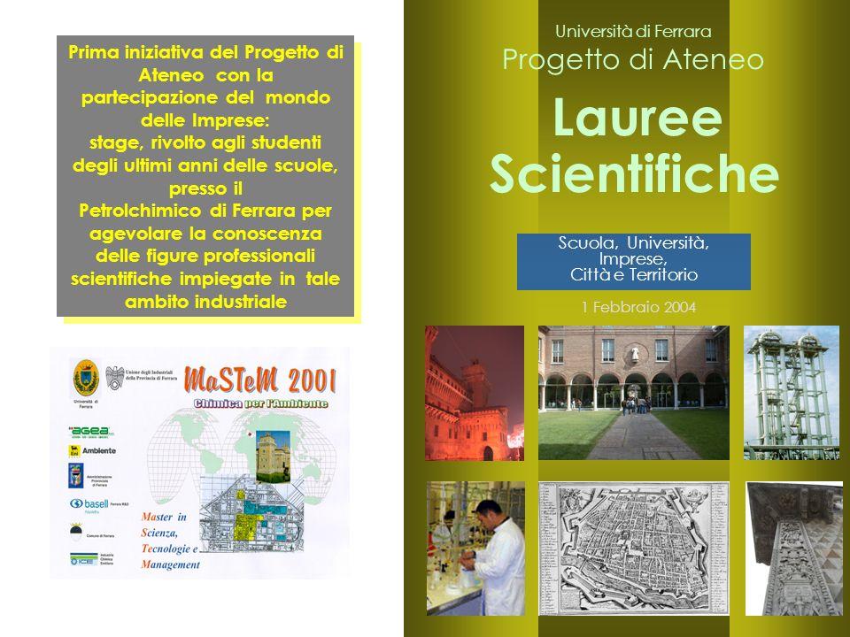 24 Lauree 1 Febbraio 2004 Scientifiche Prima iniziativa del Progetto di Ateneo con la partecipazione del mondo delle Imprese: stage, rivolto agli stud