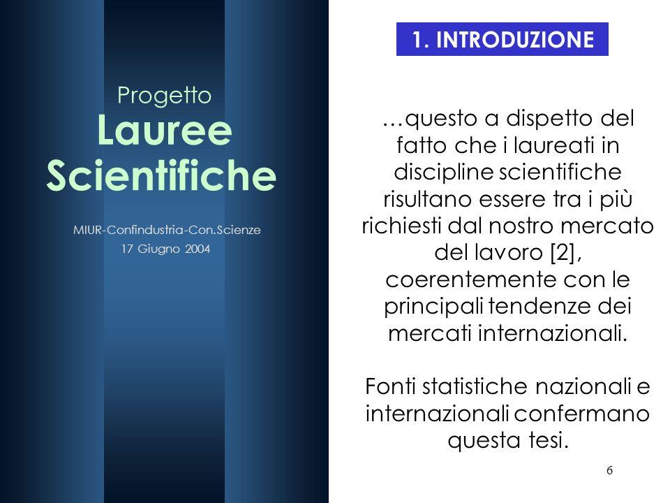 6 1. INTRODUZIONE …questo a dispetto del fatto che i laureati in discipline scientifiche risultano essere tra i più richiesti dal nostro mercato del l