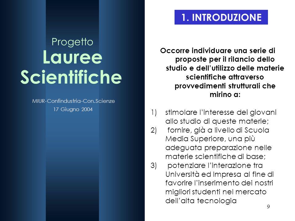 9 1. INTRODUZIONE Occorre individuare una serie di proposte per il rilancio dello studio e dellutilizzo delle materie scientifiche attraverso provvedi