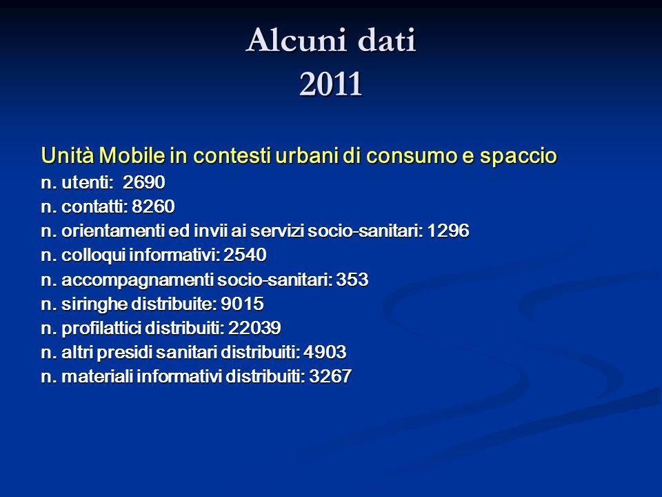 Alcuni dati 2011 Unità Mobile in contesti urbani di consumo e spaccio n. utenti: 2690 n. contatti: 8260 n. orientamenti ed invii ai servizi socio-sani