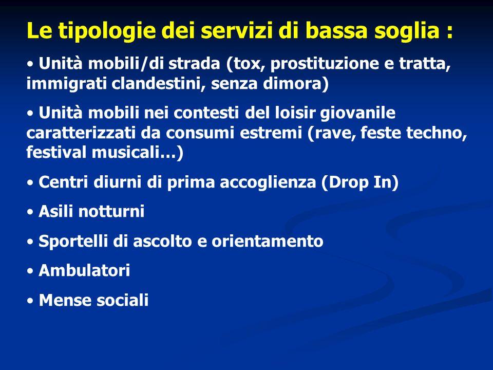 Le tipologie dei servizi di bassa soglia : Unità mobili/di strada (tox, prostituzione e tratta, immigrati clandestini, senza dimora) Unità mobili nei