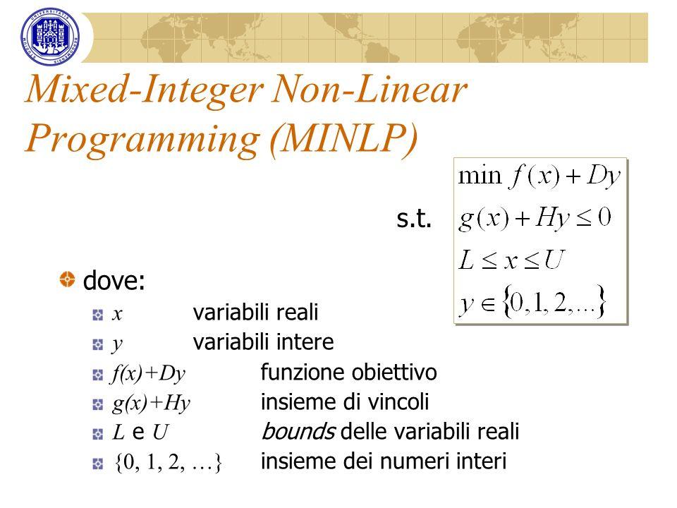 Mixed-Integer Non-Linear Programming (MINLP) dove: x variabili reali y variabili intere f(x)+Dy funzione obiettivo g(x)+Hy insieme di vincoli L e U bo