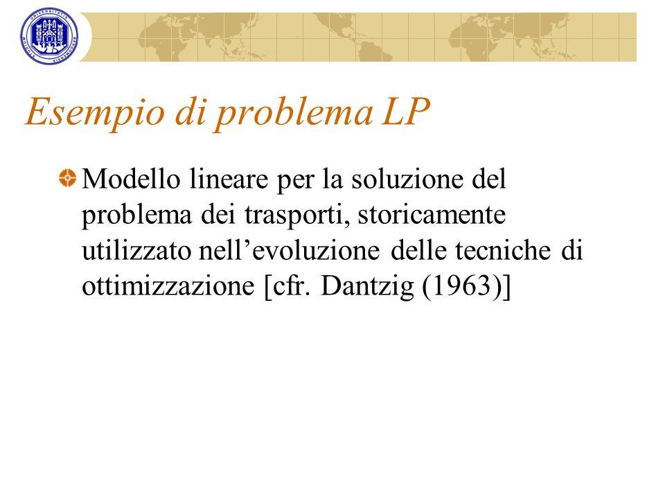 Esempio di problema LP Modello lineare per la soluzione del problema dei trasporti, storicamente utilizzato nellevoluzione delle tecniche di ottimizza