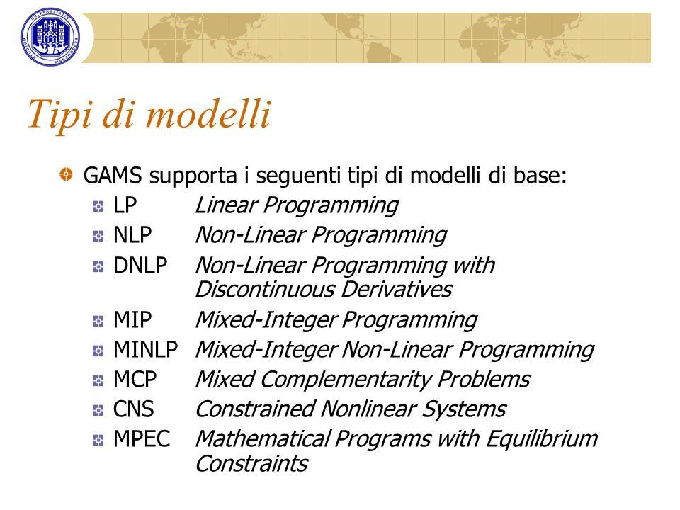 Tipi di modelli GAMS supporta i seguenti tipi di modelli di base: LPLinear Programming NLPNon-Linear Programming DNLPNon-Linear Programming with Disco