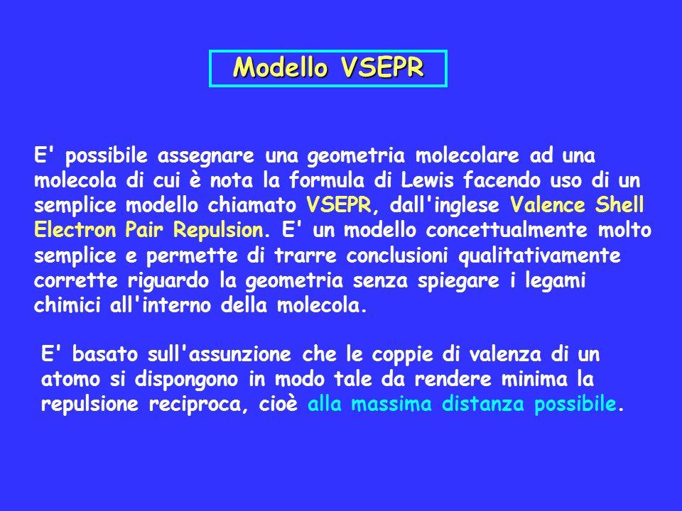 E' possibile assegnare una geometria molecolare ad una molecola di cui è nota la formula di Lewis facendo uso di un semplice modello chiamato VSEPR, d