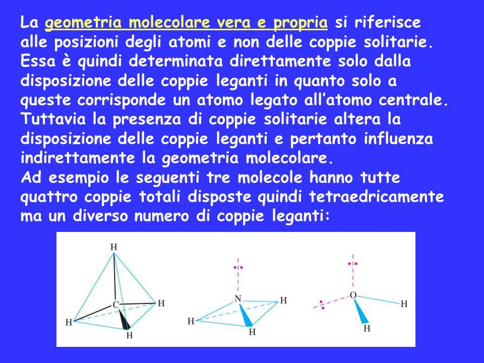 La geometria molecolare vera e propria si riferisce alle posizioni degli atomi e non delle coppie solitarie. Essa è quindi determinata direttamente so