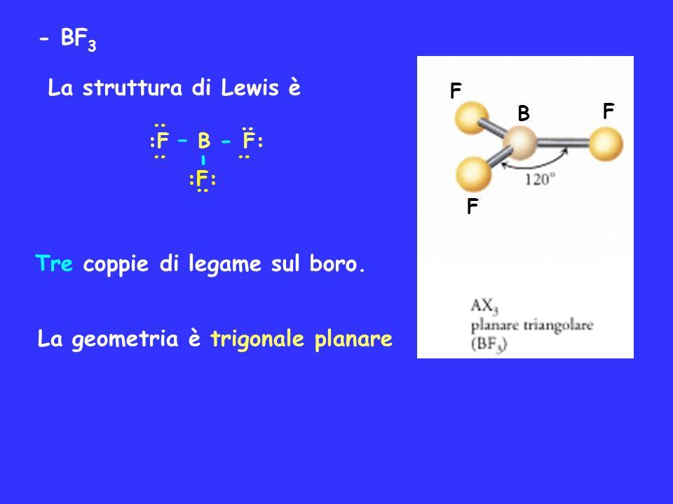 - BF 3 La struttura di Lewis è : : :F – B - F: :F: - : : : Tre coppie di legame sul boro. La geometria è trigonale planare B F F F