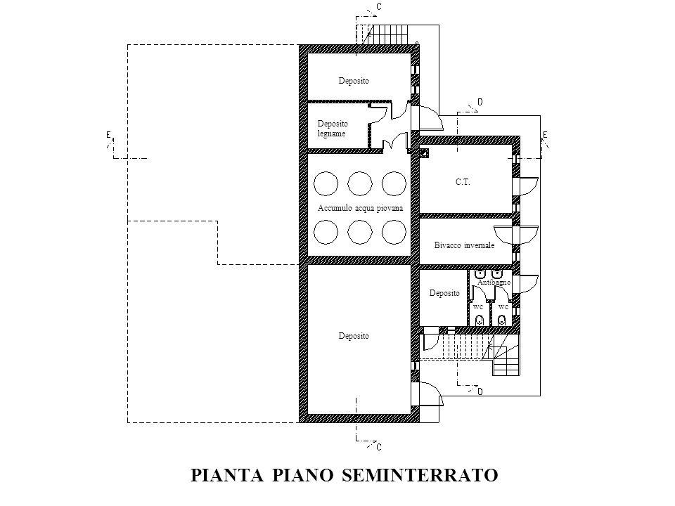 PIANTA PIANO SEMINTERRATO Deposito Accumulo acqua piovana C.T. Deposito legname Bivacco invernale Antibagno Deposito wc