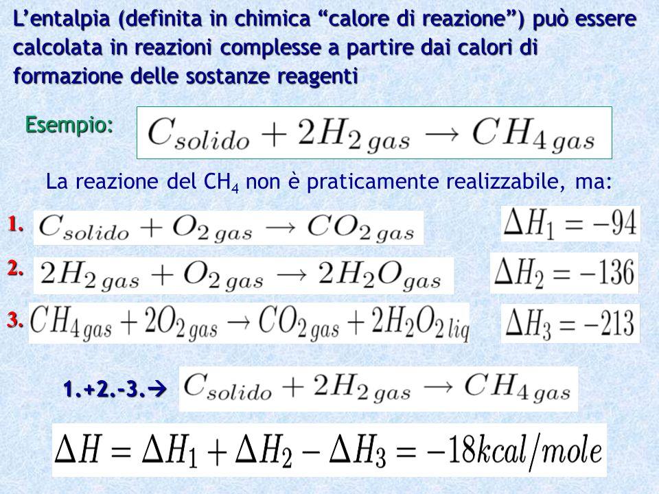 Lentalpia (definita in chimica calore di reazione) può essere calcolata in reazioni complesse a partire dai calori di formazione delle sostanze reagen