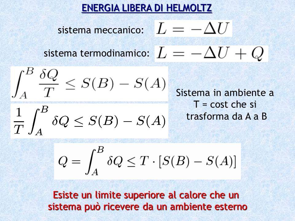 ENERGIA LIBERA DI HELMOLTZ sistema meccanico: sistema termodinamico: Sistema in ambiente a T = cost che si trasforma da A a B Esiste un limite superio