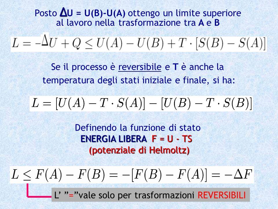 Posto U = U(B)-U(A) ottengo un limite superiore al lavoro nella trasformazione tra A e B Se il processo è reversibile e T è anche la temperatura degli