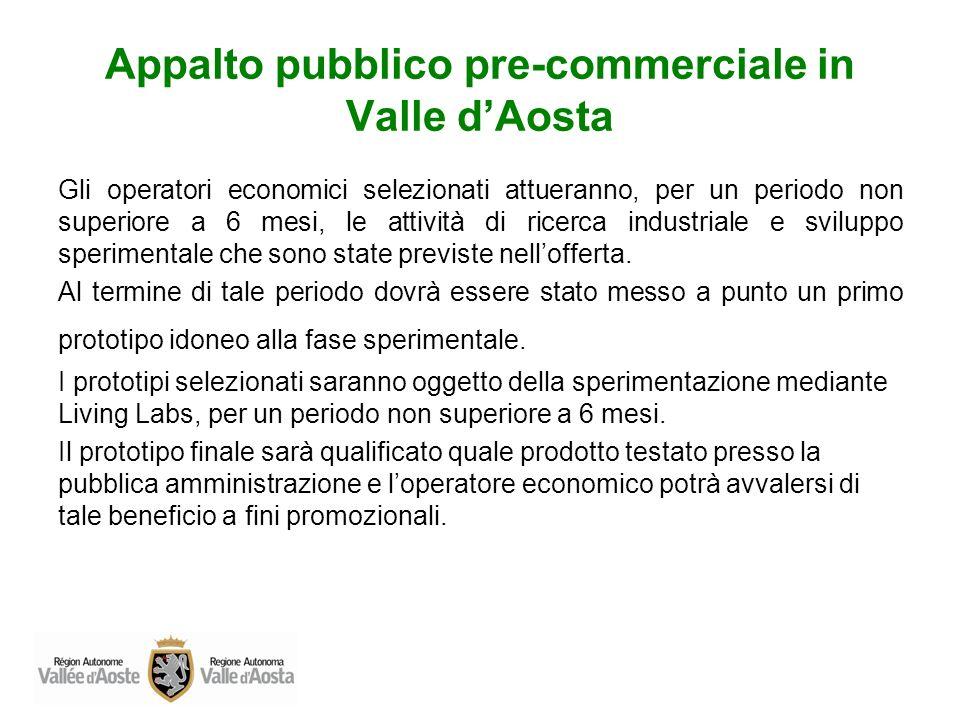Appalto pubblico pre-commerciale in Valle dAosta Gli operatori economici selezionati attueranno, per un periodo non superiore a 6 mesi, le attività di